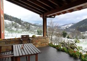 Vistas desde el porche en invierno