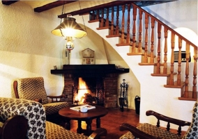 Sala con antiguos elementos del molino