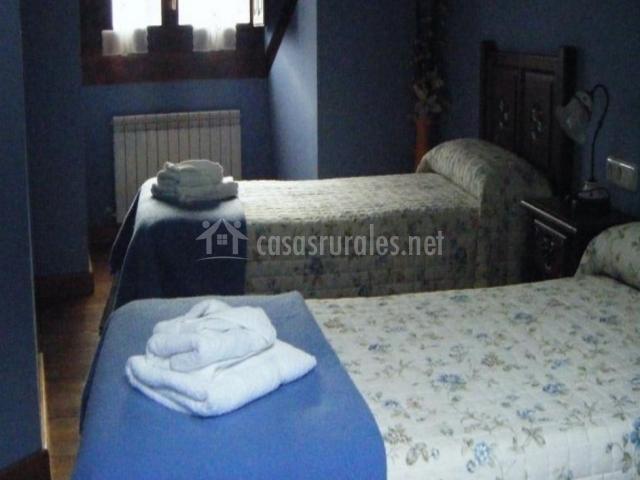 Dormitorio doble en tonos azules