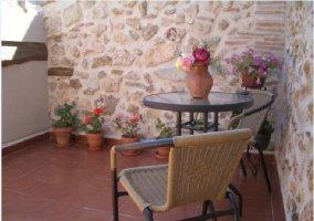 Terraza con macetas y mobiliario