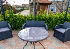 Vistas del patio con muebles
