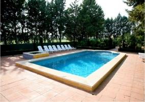piscina con tumbonas en zona de solárium