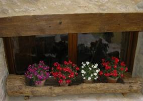 Escaleras de piedra con macetas de flor roja