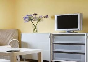 Sala de estar luminosa en otro apartamento con muebles lacados en blanco
