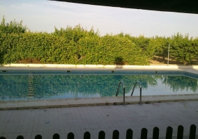 Vistas de la piscina desde las casas