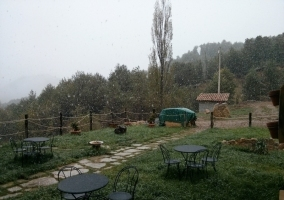 Terraza mientras está nevando