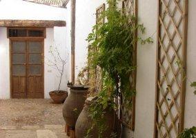 Vistas del acceso principal con plantas
