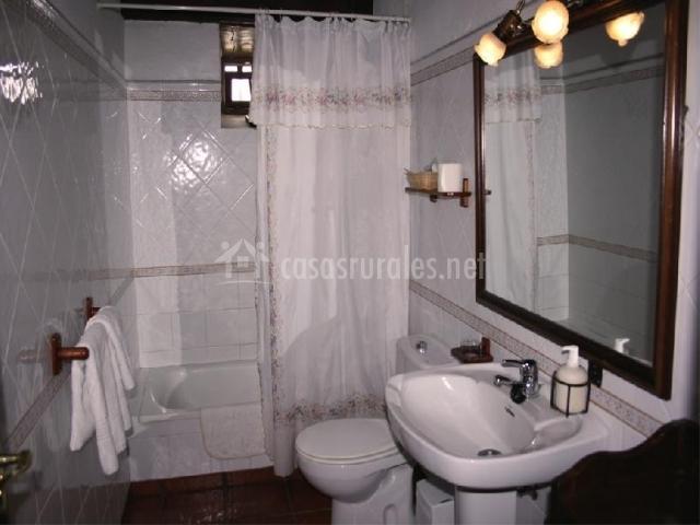 Baño con cerámica y plato de ducha