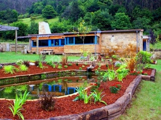 Vistas del colorido estanque en el exterior