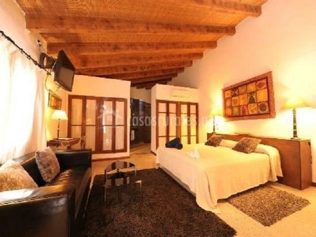 Dormitorio suite especial con televisor frente a la cama