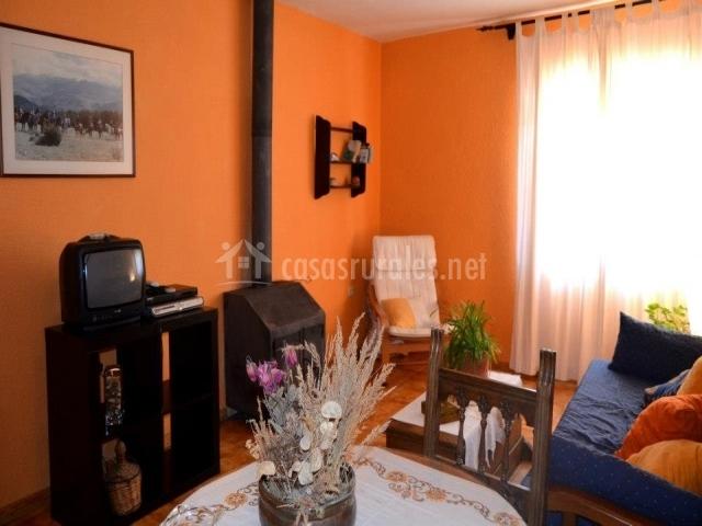 Sala de estar y comedor con estufa