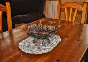 Detalle en la mesa del comedor