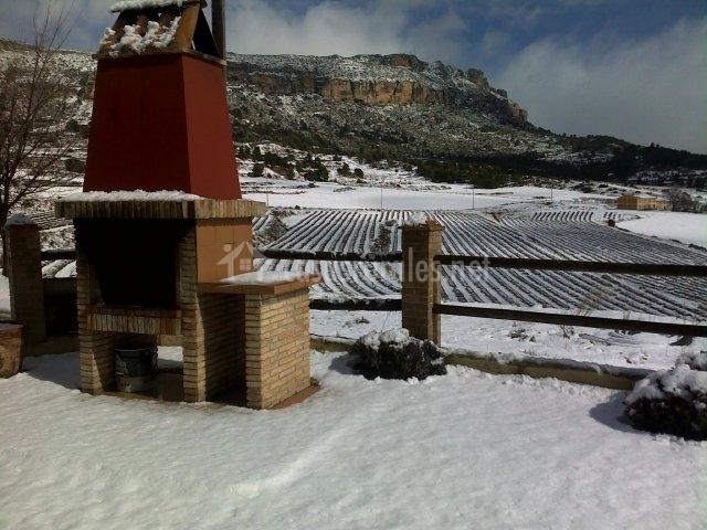 Barbacoa en el patio nevado