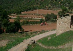 Caminos de acceso y campos de la casa