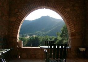 Terraza con silla y vistas