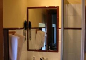 Baño con lavabo, espejo y ducha