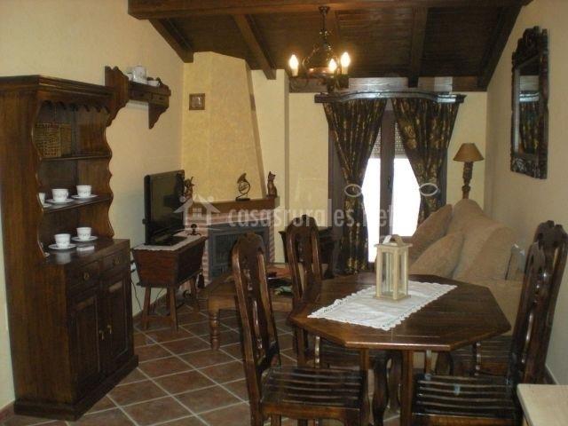 Sala de estar con chimenea y terraza