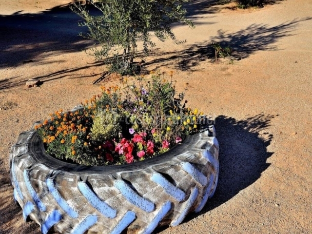 Rueda decorativa con flores