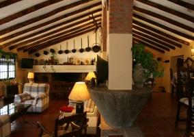 Salón comedor con techo a dos aguas