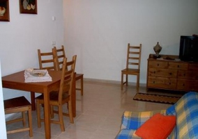 Sala de estar con sillones estampados y televisor