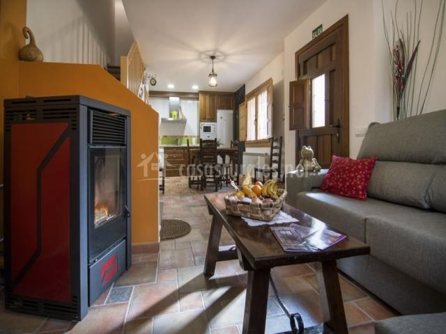 Acogedor salón con estufa
