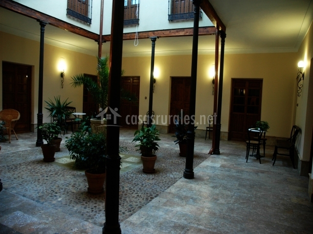 Patio interior de la vivienda con vegetación