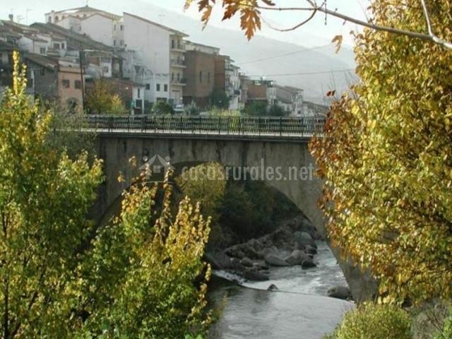 Zona natural con paso del río bajo el puente