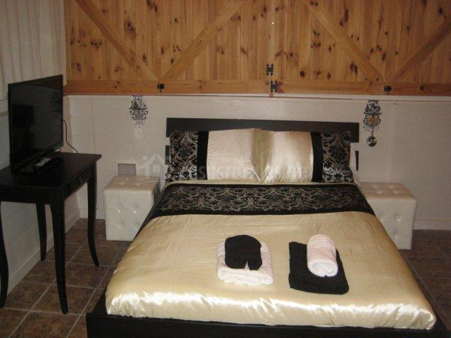 Televisión de la vivienda presente en el dormitorio