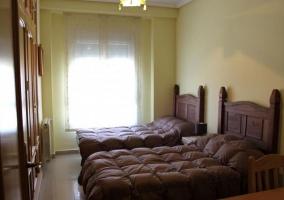 Dormitorio con camas individuales y colchas en marrones