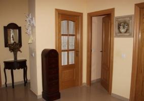 Hall recibidor con puertas de mader