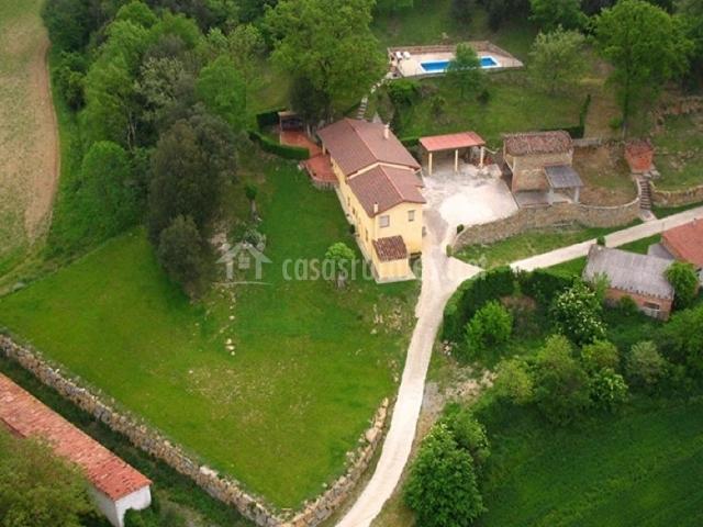 Vista aérea de la casa rural