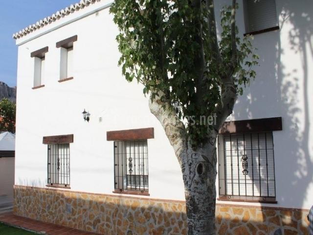 Vistas de la fachada en color blanco y ventanas