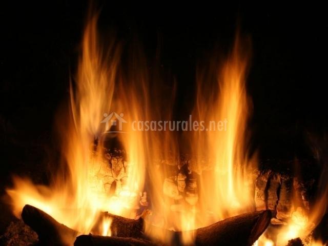Sala de estar con chimenea encendida