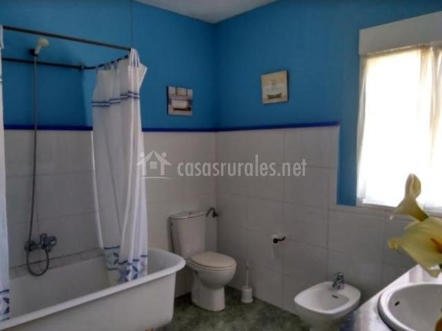 Aseo de la casa con paredes en azul y blanco