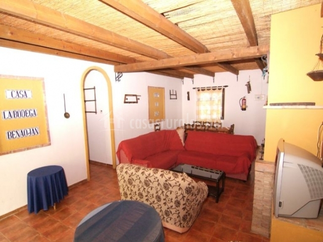 Sala de estar rústica con chimenea