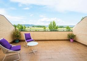Vistas de la terraza con sillas en blanco y morado