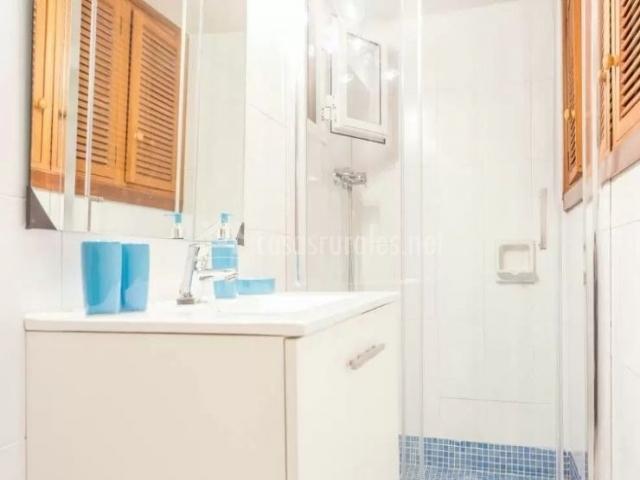 Aseo de la casa con ducha y mampara de cristal