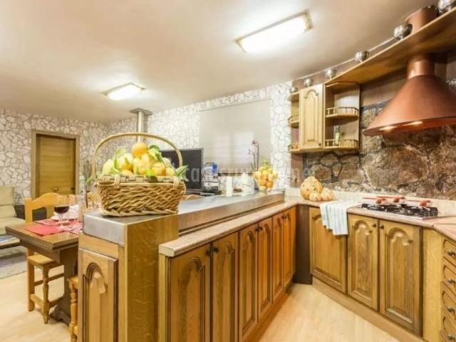 Cocina con armarios en madera y barra que comunica con la sala de estar