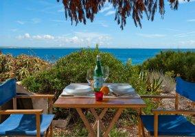Vistas de la terraza con puertas azules