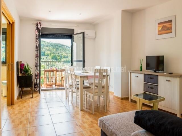 Sala de estar y comedor con terraza