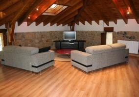 Grandes sofás y televisión