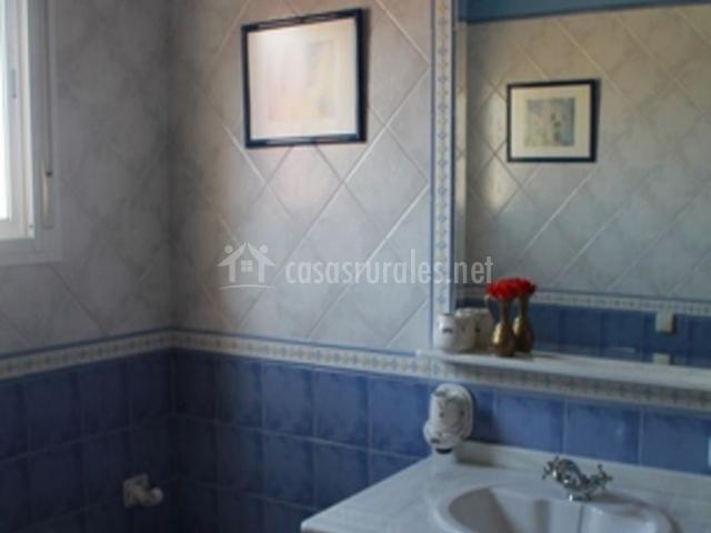 Aseo de color azul con espejo