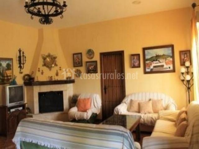 Sala de estar con chimenea en esquina y detalles