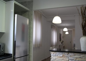 Kitchen and dining room with flower box