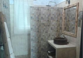 Aseo con ducha y espejo sobre el mueble con pila redonda