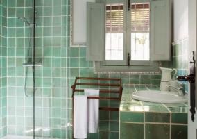 Aseo en color verde con ducha