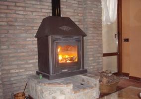 Apto 1 sala de estar con chimenea en el frente