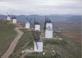 Zona tradicional del paisaje con molinos