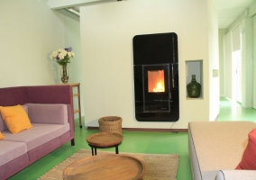 Sala de estar con original chimenea