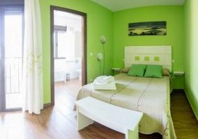 Dormitorio en verde pistacho